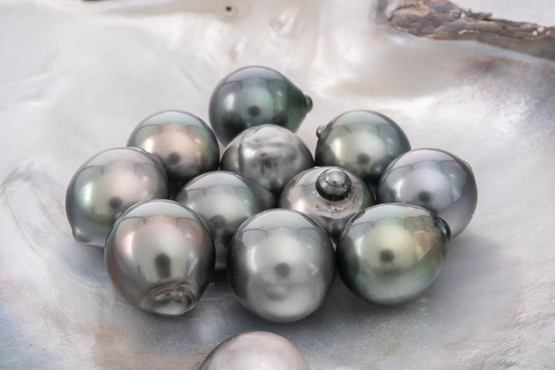 11pcs pack 12mm Shinny Blue Green Semi-Baroque AA Tahitian Pearl
