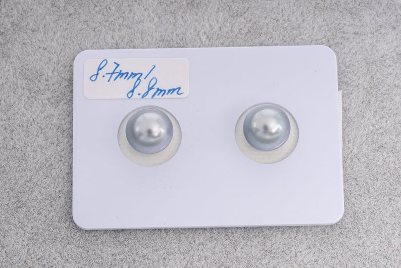 8mm Silver Blue Matched Pairs - Round - TOP quality