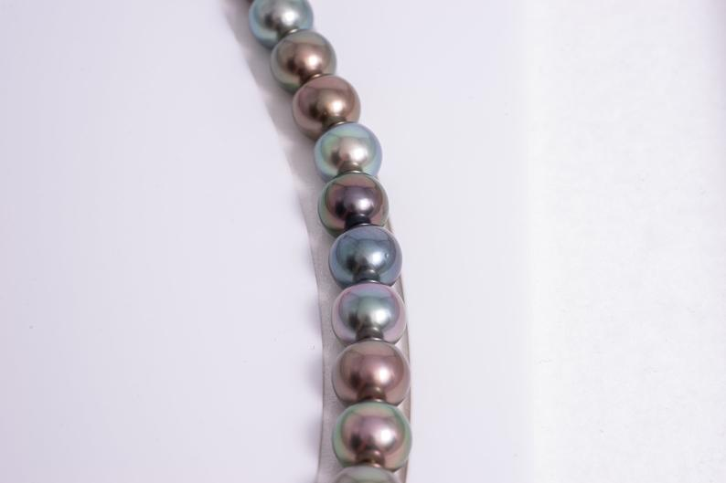 "45pcs ""Shine"" Multi Tahitian Black Pearl Necklace/Round AAA quality"