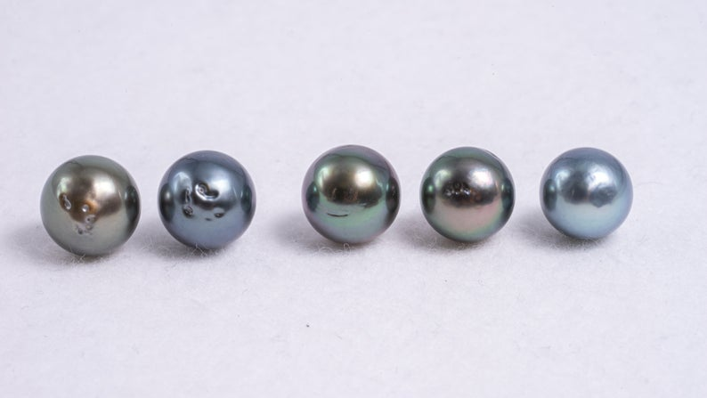 5pcs Multi color pack - Semi Round 8mm / AAA quality Tahitian Pearl