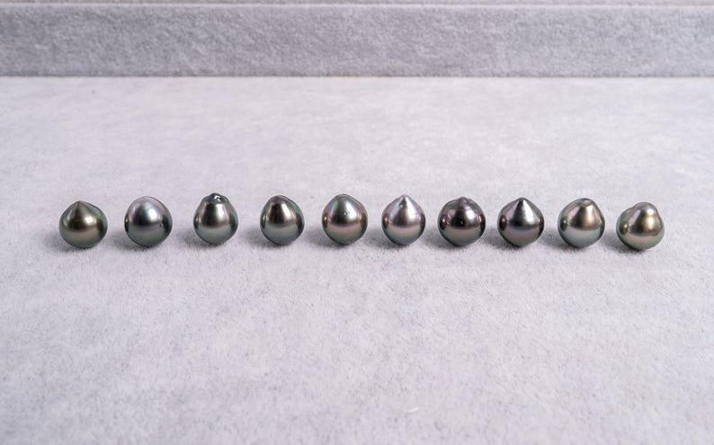 21pcs Peacock 9mm Drop AAA quality Tahitian Pearl