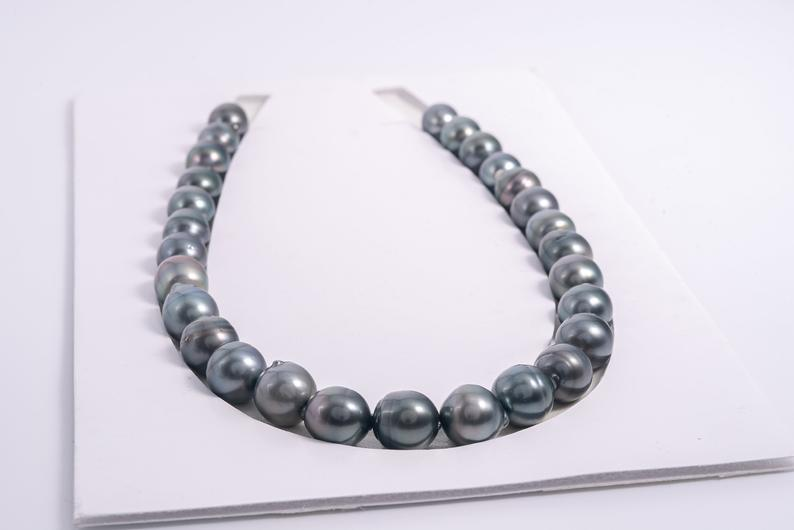 28pcs Dark Green Mix 12-13mm Tahitian Black Pearl Necklace SB/CL A+ quality