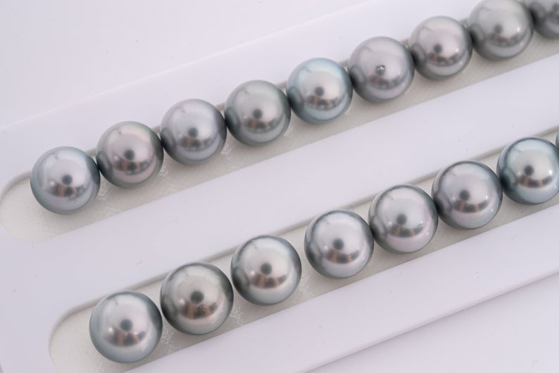 39pcs Silver Grey 11mm Tahitian Black Pearl Necklace Round AAA quality