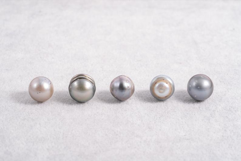 53pcs Light & Silver Color - 11-12mm Circle A+ quality Tahitian Pearl