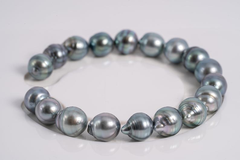 "18pcs ""Blue is Changing"" Bracelet 9mm AAA quality Tahitian Pearl"