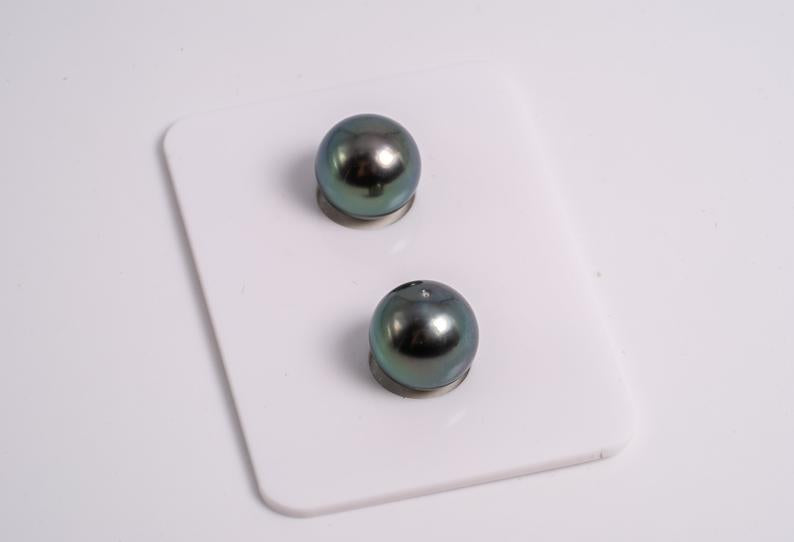 Green Matched Pair - Round 10mm AAA quality Tahitian Pearl Earrings