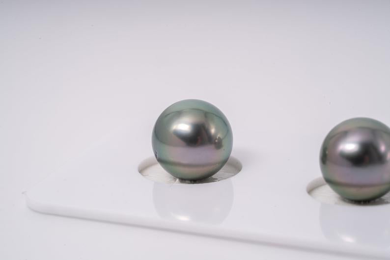 Apple Green Matched Pair - Round 10mm AAA quality Tahitian Pearl Earrings