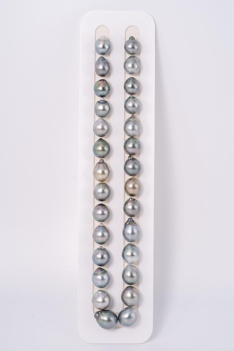 "28pcs ""Light Chain"" Grey to Light Green Color Necklace - Semi-Baroque 10-12mm AA quality Tahitian Pearl"