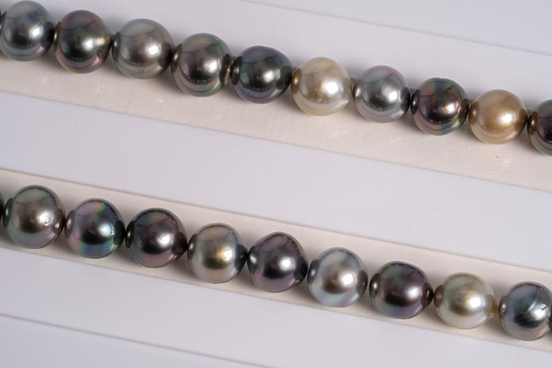 "47pcs ""Carnival"" Multi Color Necklace - NR/SB 8-10mm AA quality Tahitian Pearl"