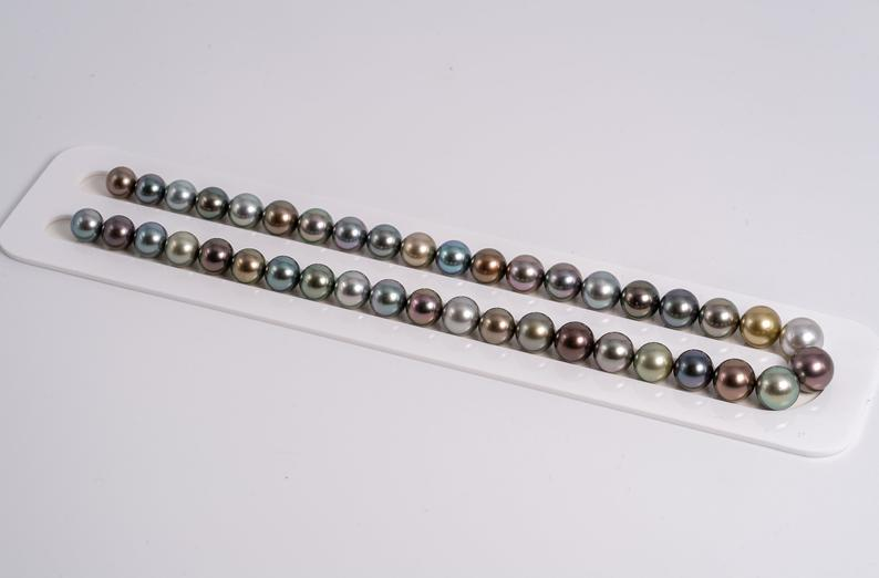 "41pcs ""Empire"" Multi Color Necklace - Round 8-10mm AA quality Tahitian Pearl"