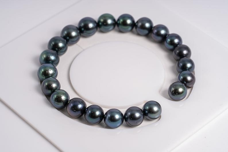 "21pcs ""Purple Sea"" Deep Purple Bracelet 8-9mm A quality Tahitian Pearl"