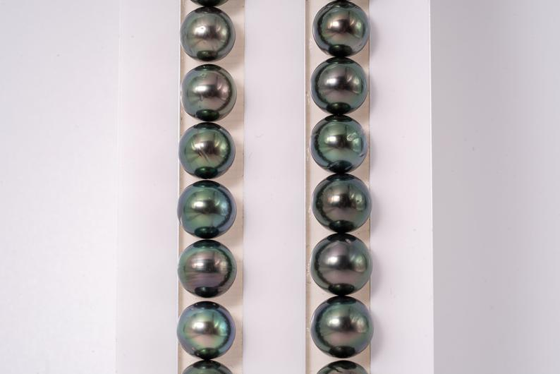 "43pcs ""Peacock & Green"" Necklace - Near-Round 8-10mm A/A- quality Tahitian Pearl"