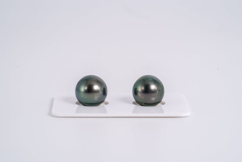 Green Matched Pair - Round 12mm AA quality Tahitian Pearl Earrings