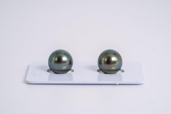 Green Matched Pair - Round 11mm AA quality Tahitian Pearl Earrings