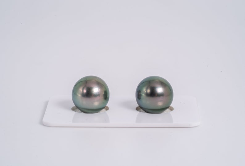 12mm Light Green Matched Pair - Round AA quality Tahitian Pearl Earrings