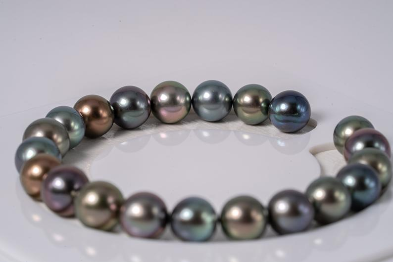 "21pcs ""LaLaLa"" Multi Color Bracelet 8-9mm Semi-Round AAA quality Tahitian Pearl"