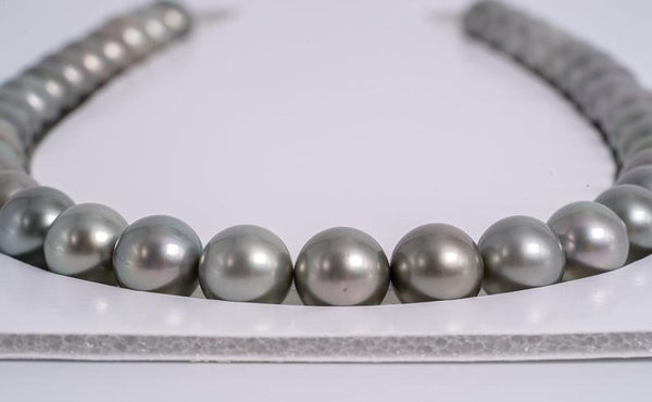 "37pcs ""Ashy"" Light Pearl Necklace - Round 11mm AAA/AA quality Tahitian Pearl"