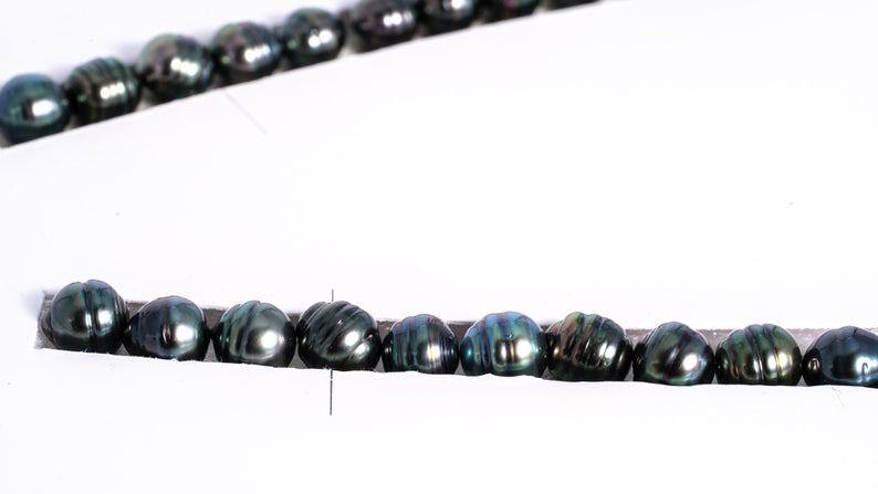 "48pcs ""Blue Trend II"" Dark Blue to Blue Green Color Pearl Necklace - Circle 8-9mm AAA quality Tahitian Pearl"