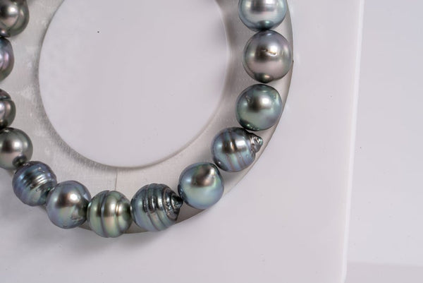 "19pcs ""Blue Wif Green"" Bracelet - Circle 9mm AAA/AA quality Tahitian Pearl"