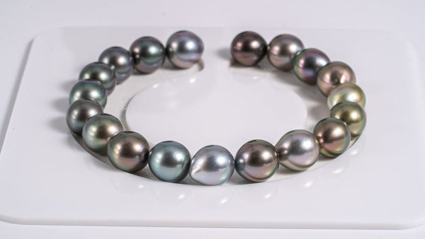 "19pcs ""CABLE"" gradient multi 9mm - Tahitian Pearl Necklace Drop TOP quality"