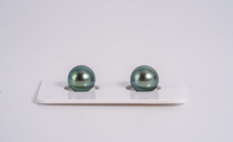 Neon Green 9mm Matched Pair - Round AA quality Tahitian Pearl Earrings