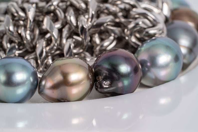 "17pcs ""ING"" Multi Color 9mm - Tahitian Pearl Bracelet Semi-Baroque AAA quality"