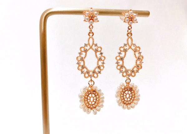 "Earrings ""Lacy Flower"" Limited edittion by CTC - BUY Tahitian Pearls jewellery wholesale - CMWPEARLS.COM"