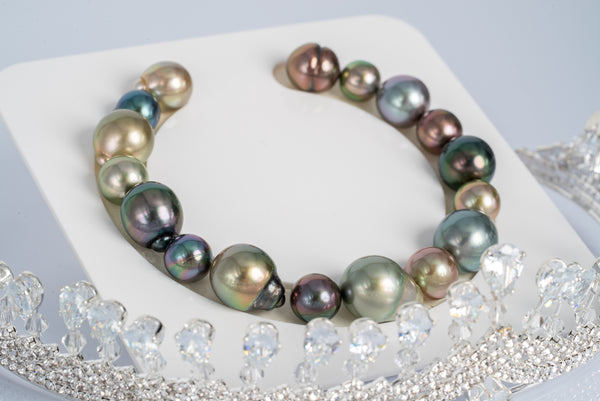 "16pcs ""Gladiolus"" Multi Color Bracelet - Mixed Shape 8-12mm TOP/AAA quality Tahitian Pearl"