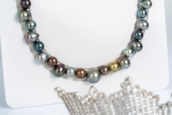"47pcs ""Tiara"" Multi Color Necklace - SNR/Drop 8-13mm TOP/AAA quality Tahitian Pearl"