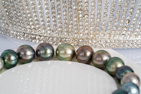 "20pcs ""Wonderland III"" Multi Color Bracelet - Near-Round/Semi-Round 9mm TOP/AAA quality Tahitian Pearl"