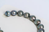 "17pcs ""Forget-Me-Got"" Purple Blue Bracelet - Semi-Baroque 10mm AAA quality Tahitian Pearl"