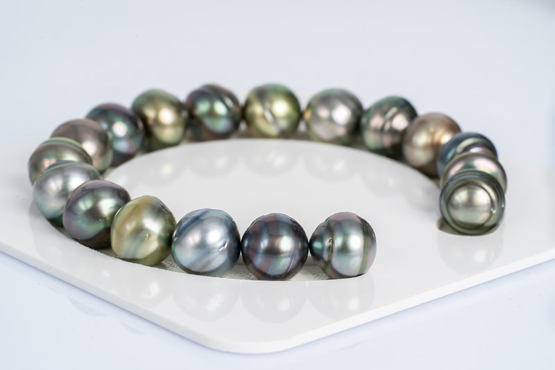 "18pcs ""Sweet Button"" Multi Color Bracelet - Circle 11-12mm AAA quality Tahitian Pearl"