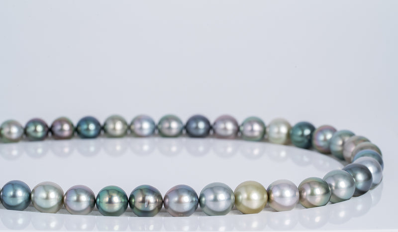 "43pcs ""Spring Time"" Multi Color Necklace - Semi-Round/Near-Round 9-10mm AAA quality Tahitian Pearl"