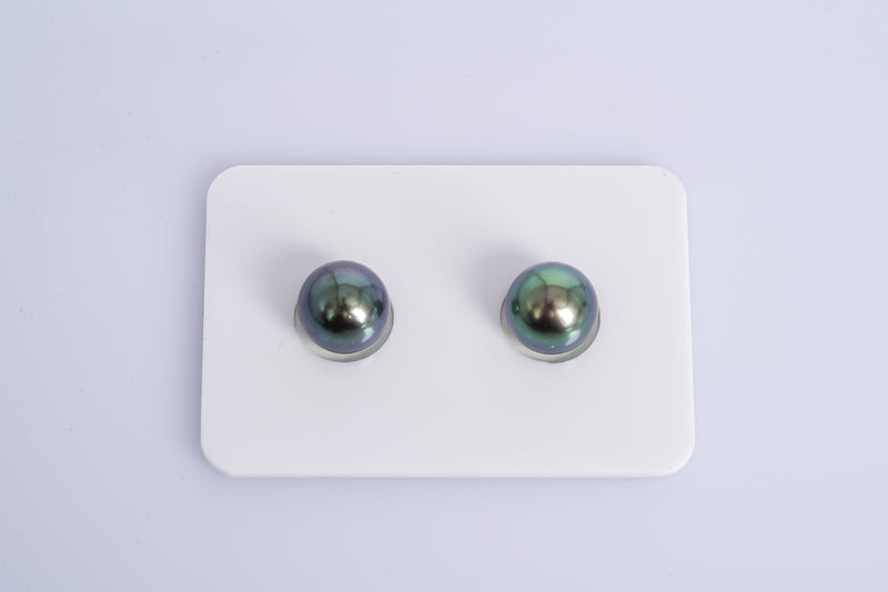 Green Purple Matched Pair - Semi-Round 9mm AAA quality Tahitian Pearl