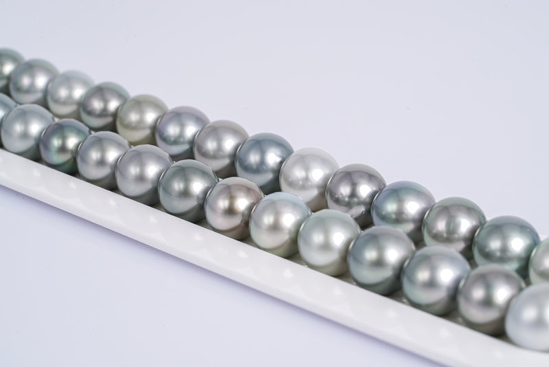 "31pcs ""Light Bubble Up"" Color Necklace - Near-Round 11mm AA quality Tahitian Pearl"