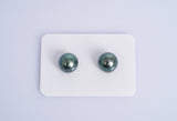 Blue Green Matched Pair - Round 10mm TOP/AAA quality Tahitian Pearl