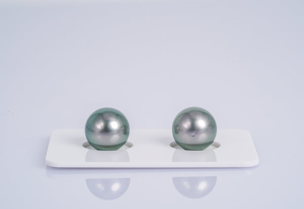 Silver Green Matched Pair - Round 10mm TOP quality Tahitian Pearl
