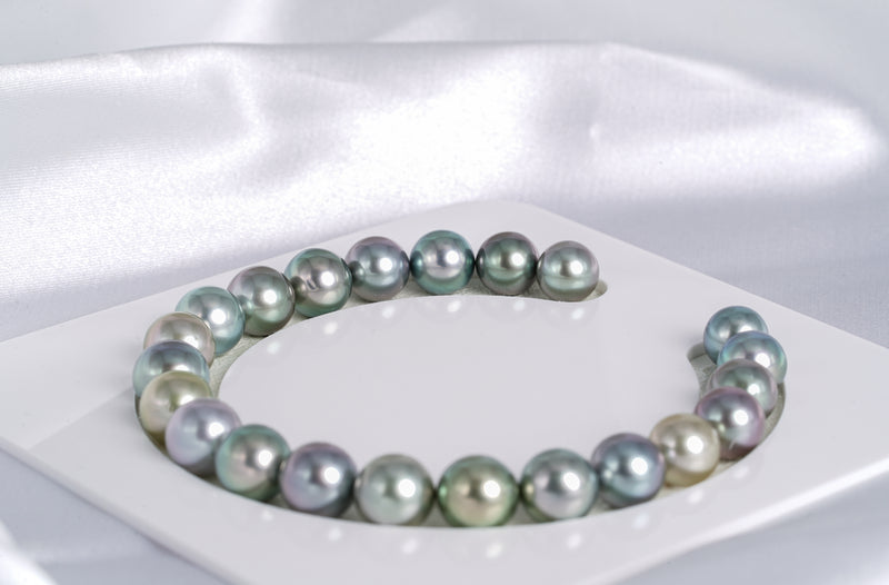 "22pcs ""Haribo"" Pastel Bracelet - Round/Near-Round 8-9mm AAA/AA quality Tahitian Pearl"