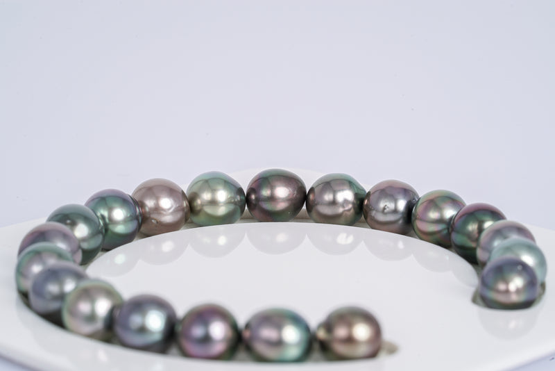 "20pcs ""Coral"" Multi Color Bracelet - Semi-Baroque 9mm AA/A quality Tahitian Pearl"
