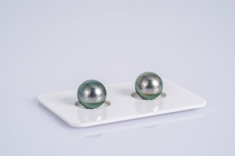 Green Cherry Matched Pair - Round/Near-Round 9mm AAA quality Tahitian Pearl