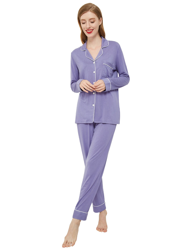 model in airy purple pajamas
