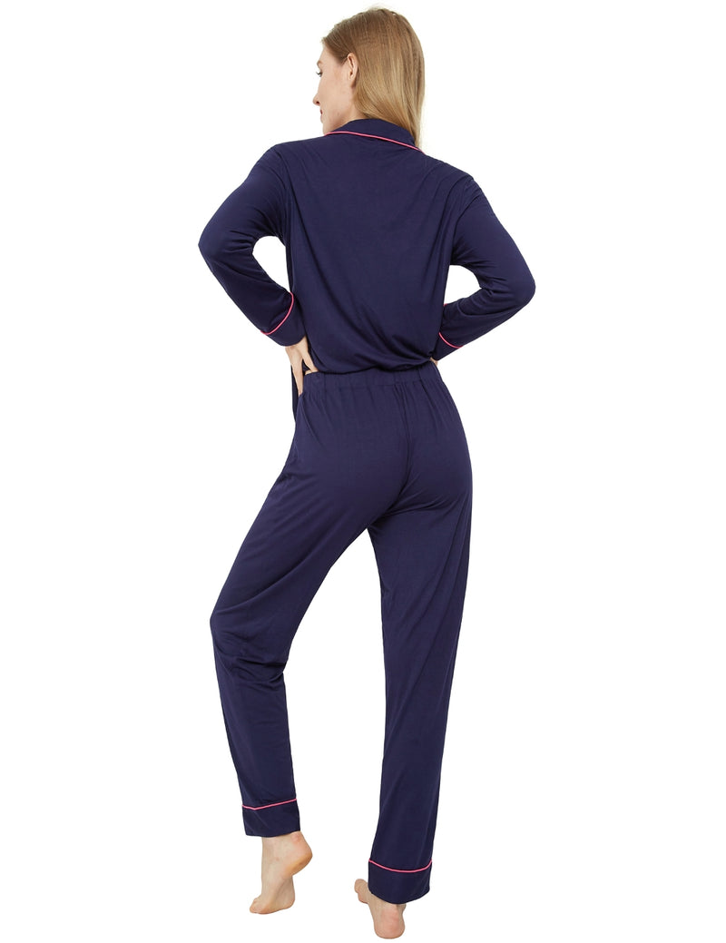 model in navy pajamas