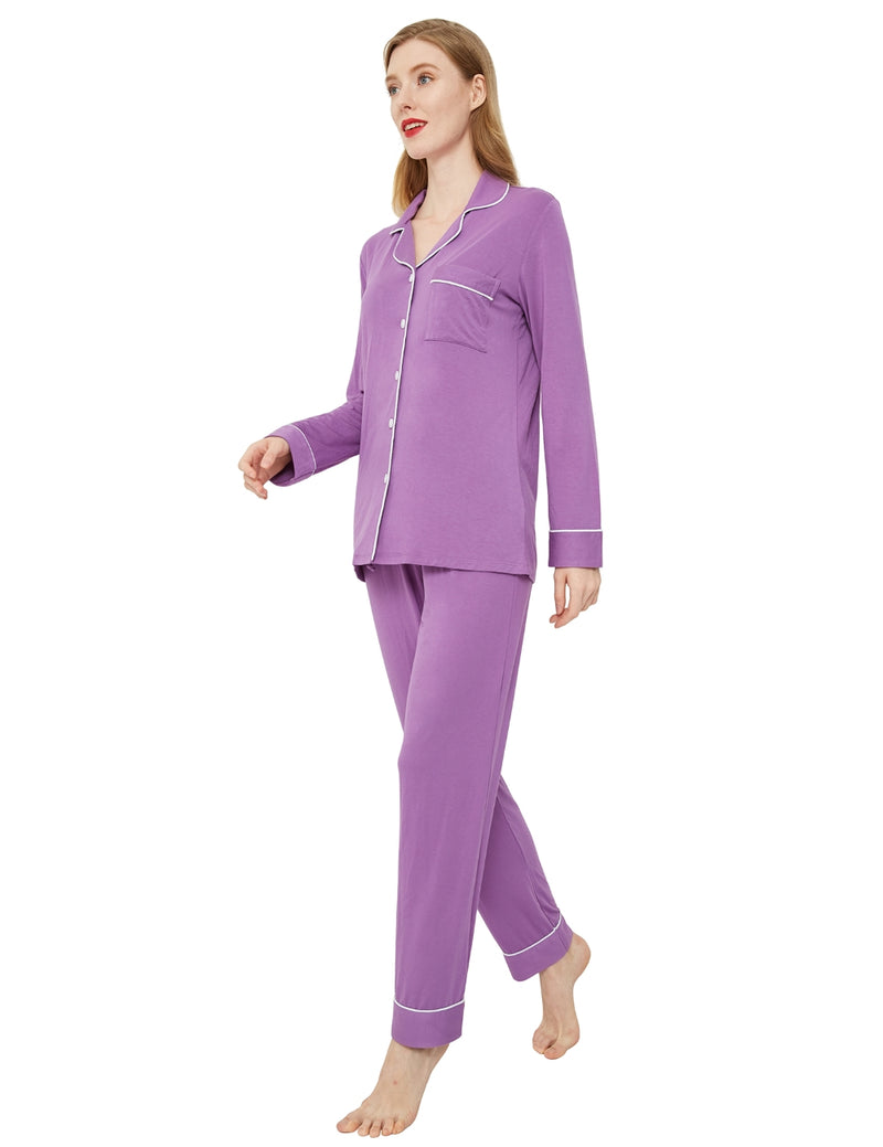 model in purple pajama set