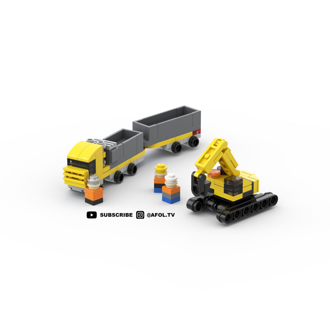 LEGO Micro Double Dump Truck & Heavy Construction Excavator Instructions