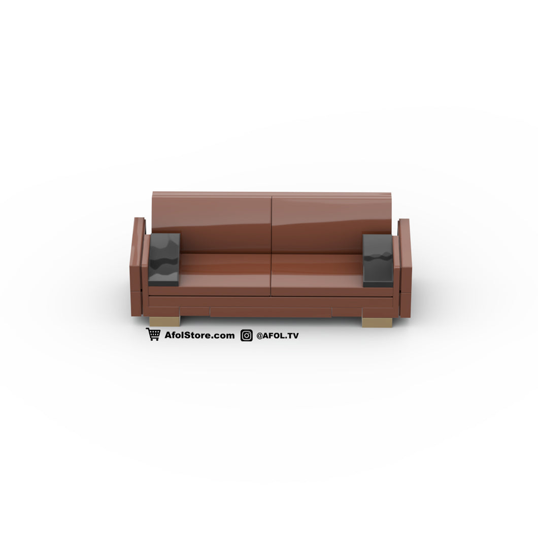 LEGO Midcentury Modern 'Leather' Couch Instructions (Sloped Back)