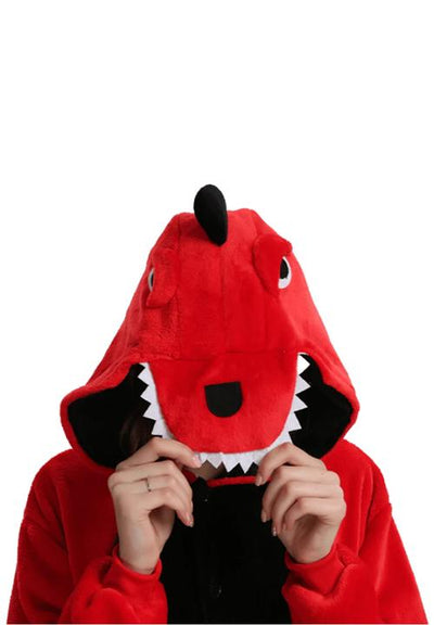 capuche pyjama dragon rouge