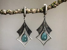Load image into Gallery viewer, Aquamarine Oxidized Silver Earrings