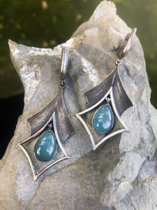 Aquamarine Oxidized Silver Earrings