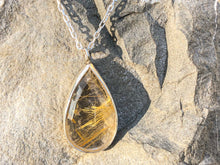 Load image into Gallery viewer, Gold Rutile Quartz Silver Necklace