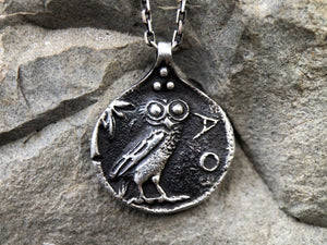 Athens Owl Coin Pendant, Greek Tetradrachm Necklace, Ancient Roman Mythology Medallion